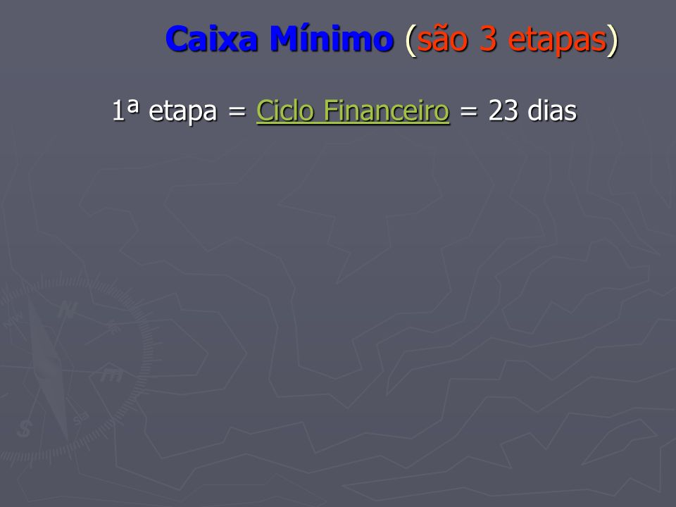 Caixa Mínimo (são 3 etapas) 1ª etapa = Ciclo Financeiro = 23 dias Ciclo FinanceiroCiclo Financeiro