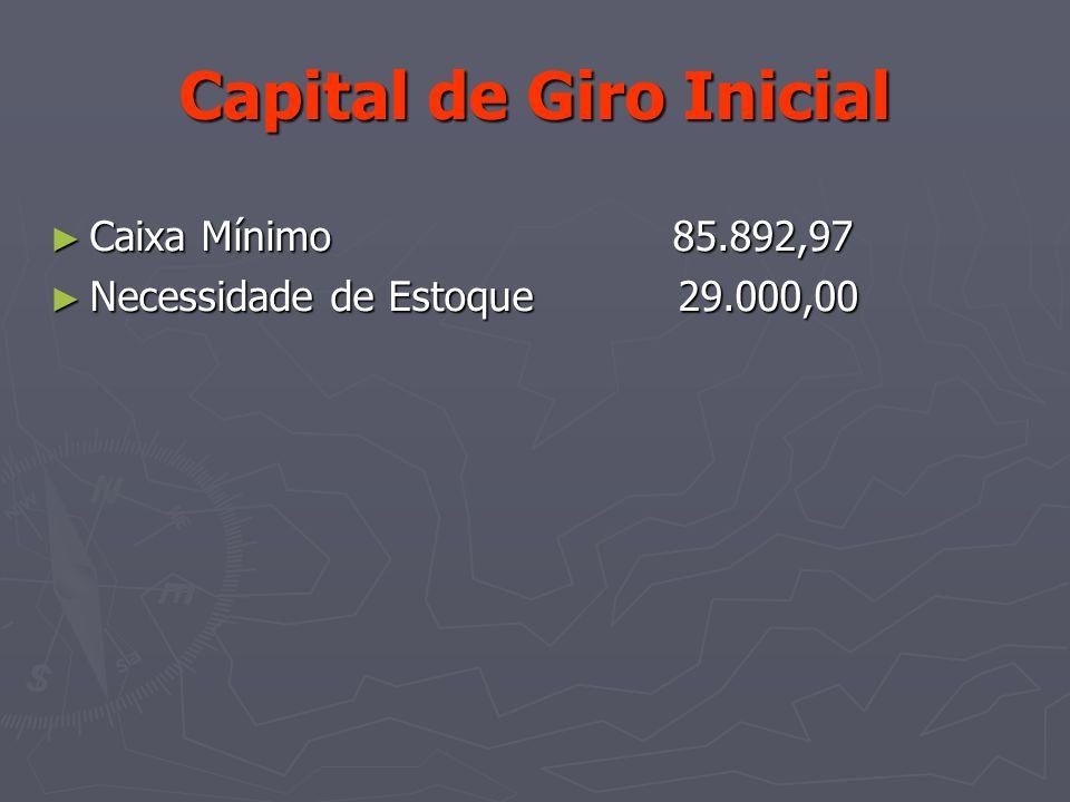 Capital de Giro Inicial Caixa Mínimo 85.892,97 Caixa Mínimo 85.892,97 Necessidade de Estoque 29.000,00 Necessidade de Estoque 29.000,00