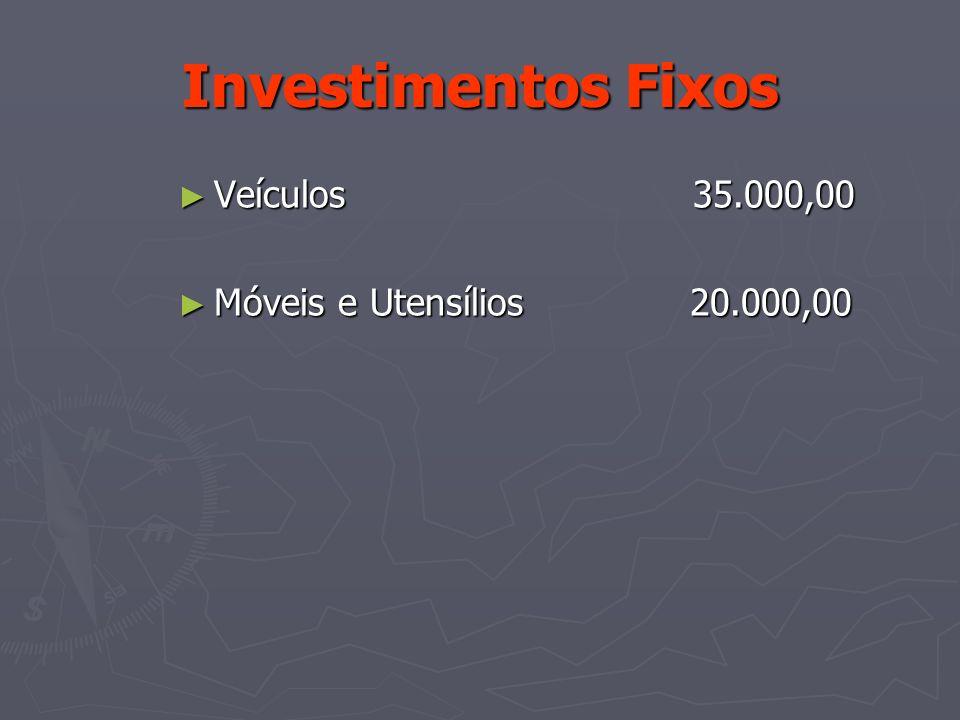 Investimentos Fixos Veículos 35.000,00 Veículos 35.000,00 Móveis e Utensílios 20.000,00 Móveis e Utensílios 20.000,00