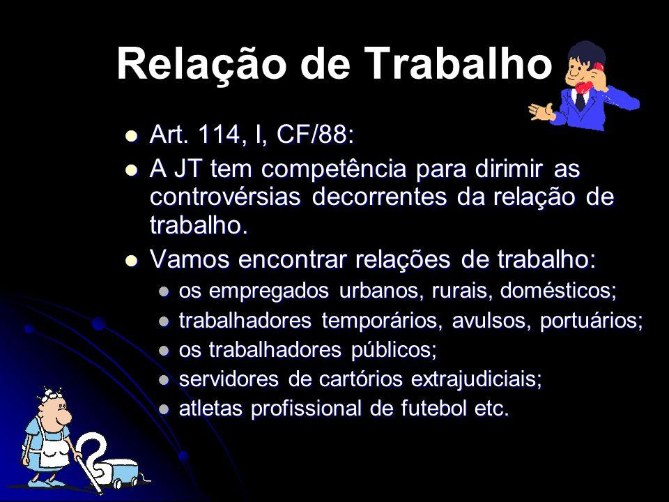 Art. 114, I, CF/88: Art. 114, I, CF/88: A JT tem competência para dirimir as controvérsias decorrentes da relação de trabalho. A JT tem competência pa