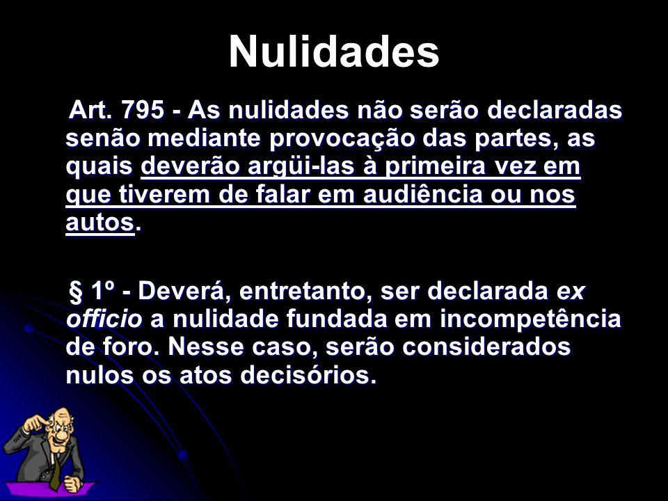 Art. 795 - As nulidades não serão declaradas senão mediante provocação das partes, as quais deverão argüi-las à primeira vez em que tiverem de falar e