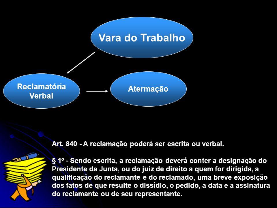 Atermação Vara do Trabalho Reclamatória Verbal Art. 840 - A reclamação poderá ser escrita ou verbal. § 1º - Sendo escrita, a reclamação deverá conter