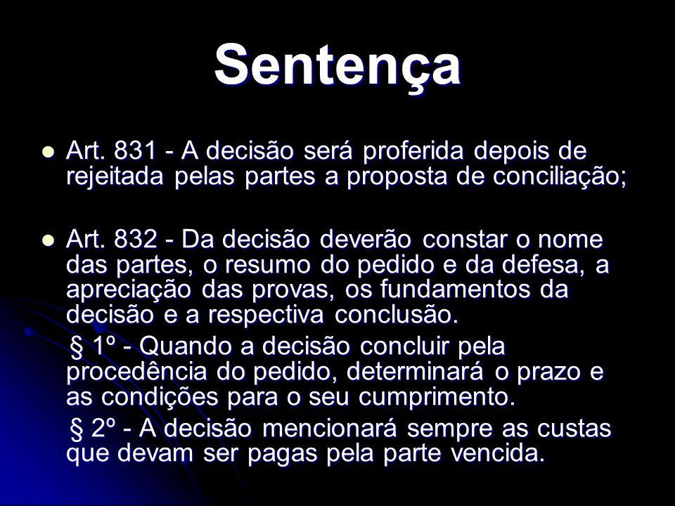 Sentença Art. 831 - A decisão será proferida depois de rejeitada pelas partes a proposta de conciliação; Art. 831 - A decisão será proferida depois de