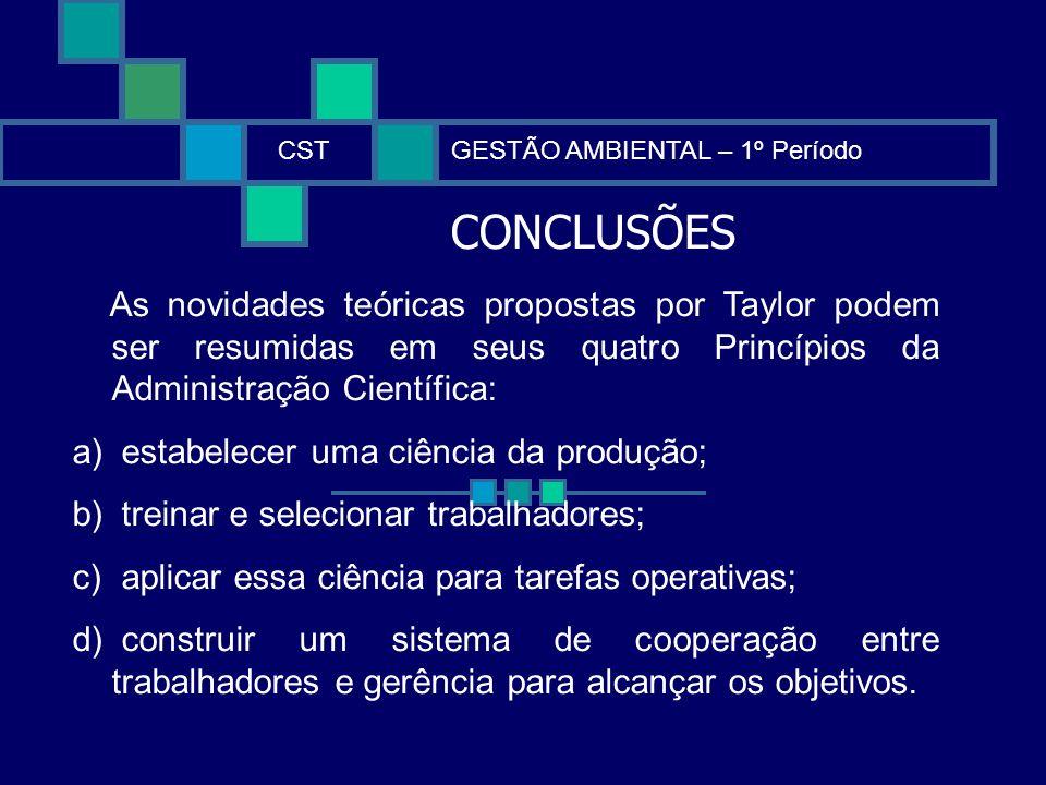 CONCLUSÕES CSTGESTÃO AMBIENTAL – 1º Período As novidades teóricas propostas por Taylor podem ser resumidas em seus quatro Princípios da Administração