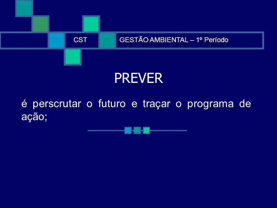 PREVER CSTGESTÃO AMBIENTAL – 1º Período é perscrutar o futuro e traçar o programa de ação;
