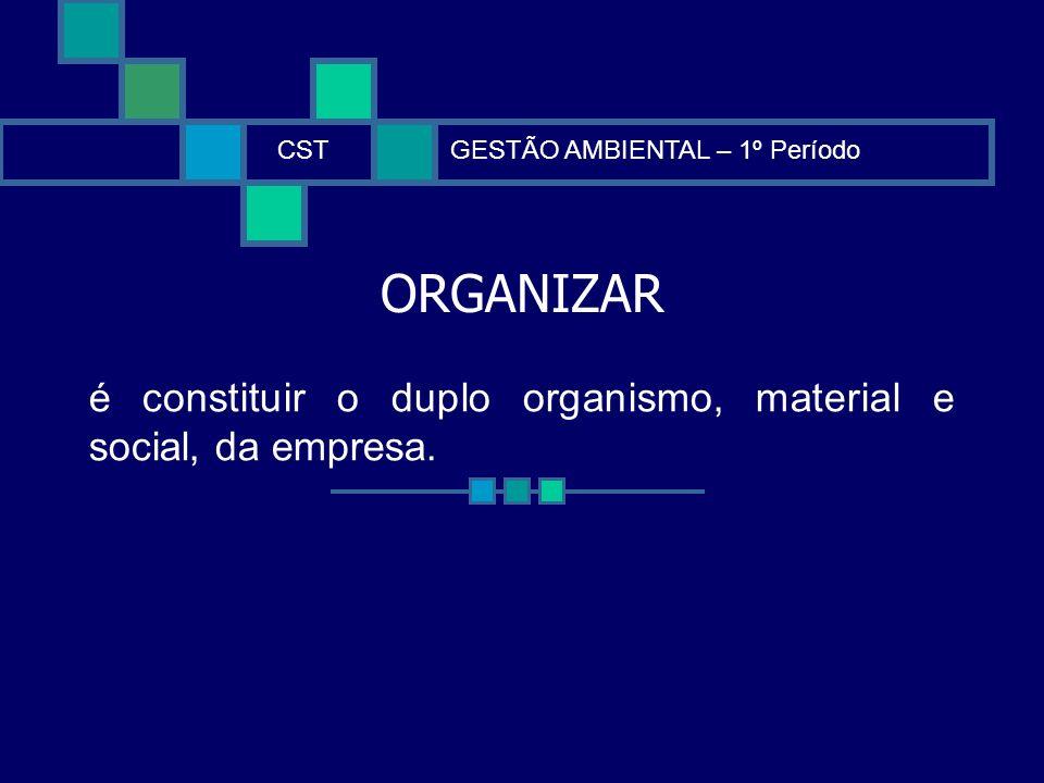 ORGANIZAR CSTGESTÃO AMBIENTAL – 1º Período é constituir o duplo organismo, material e social, da empresa.