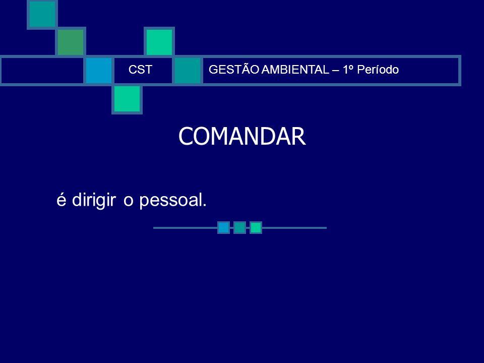 COMANDAR CSTGESTÃO AMBIENTAL – 1º Período é dirigir o pessoal.