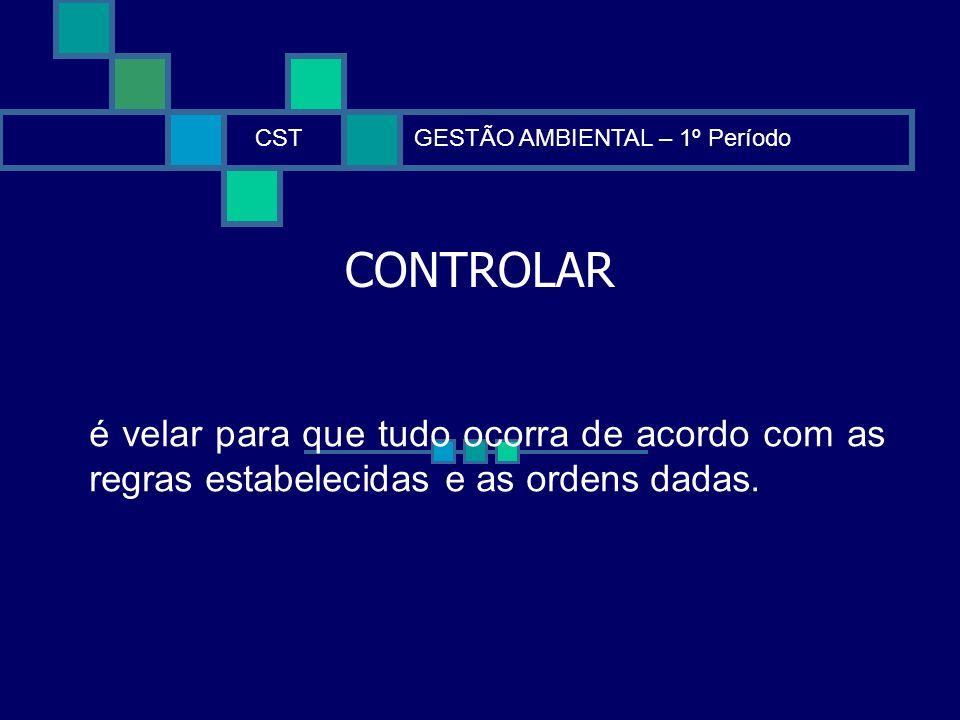 CONTROLAR CSTGESTÃO AMBIENTAL – 1º Período é velar para que tudo ocorra de acordo com as regras estabelecidas e as ordens dadas.