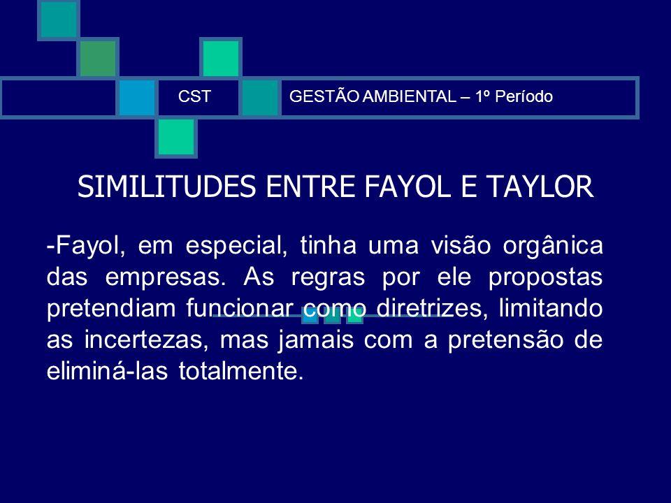 SIMILITUDES ENTRE FAYOL E TAYLOR CSTGESTÃO AMBIENTAL – 1º Período -Fayol, em especial, tinha uma visão orgânica das empresas. As regras por ele propos