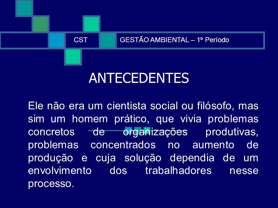 ANTECEDENTES CSTGESTÃO AMBIENTAL – 1º Período Ele não era um cientista social ou filósofo, mas sim um homem prático, que vivia problemas concretos de