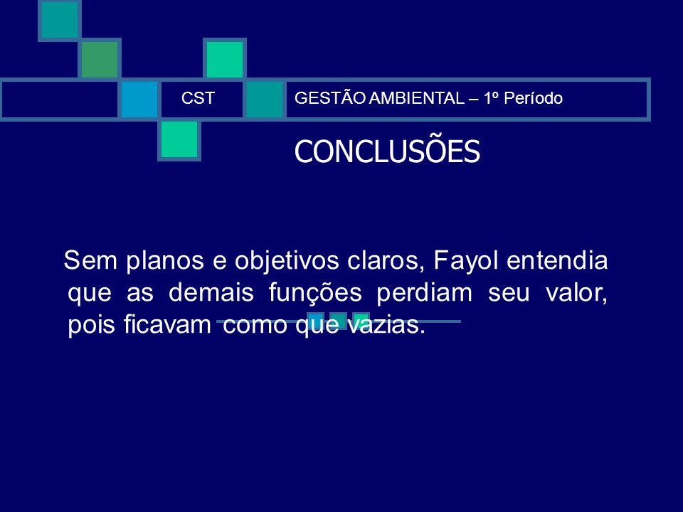 CONCLUSÕES CSTGESTÃO AMBIENTAL – 1º Período Sem planos e objetivos claros, Fayol entendia que as demais funções perdiam seu valor, pois ficavam como q