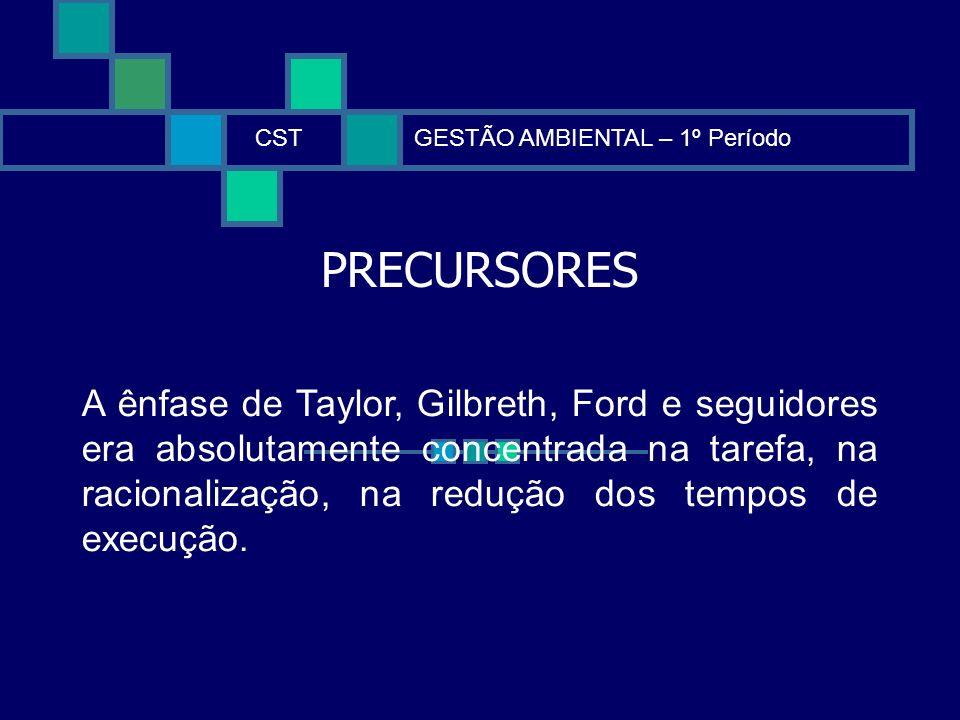 PRECURSORES CSTGESTÃO AMBIENTAL – 1º Período A ênfase de Taylor, Gilbreth, Ford e seguidores era absolutamente concentrada na tarefa, na racionalizaçã