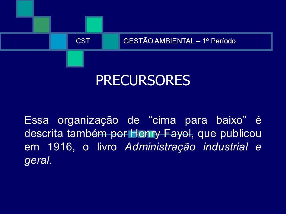 PRECURSORES CSTGESTÃO AMBIENTAL – 1º Período Essa organização de cima para baixo é descrita também por Henry Fayol, que publicou em 1916, o livro Admi