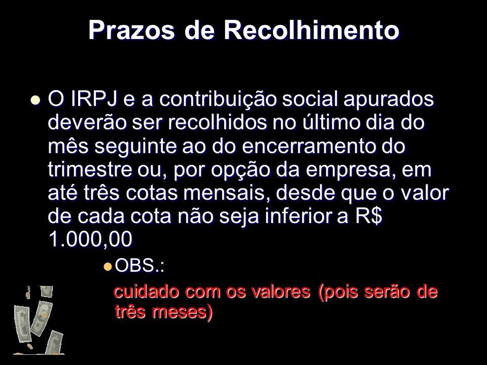 XXXXXXXxXXXXXXXx Prazos de Recolhimento O IRPJ e a contribuição social apurados deverão ser recolhidos no último dia do mês seguinte ao do encerrament