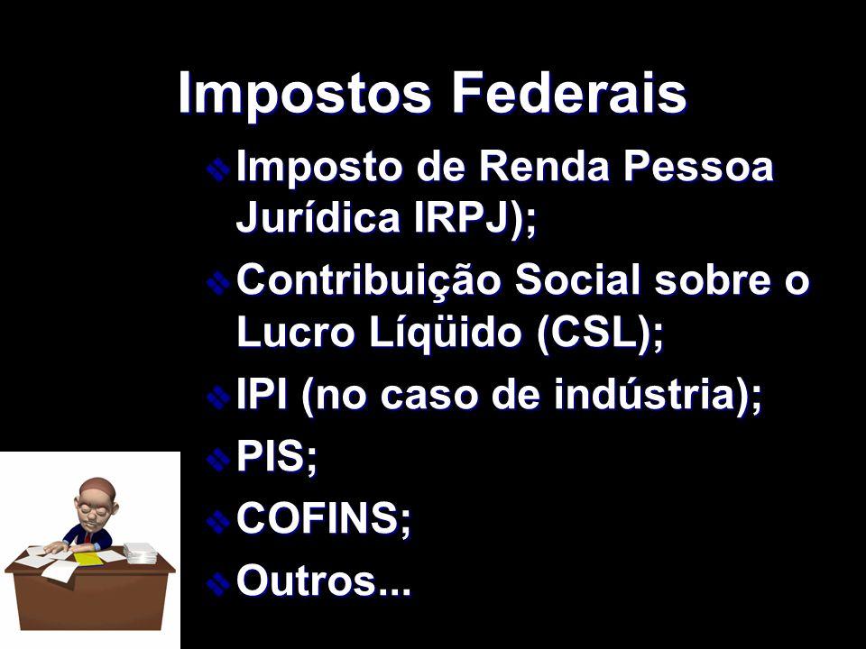 XXXXXXXxXXXXXXXx Impostos Federais v Imposto de Renda Pessoa Jurídica IRPJ); v Contribuição Social sobre o Lucro Líqüido (CSL); v IPI (no caso de indú