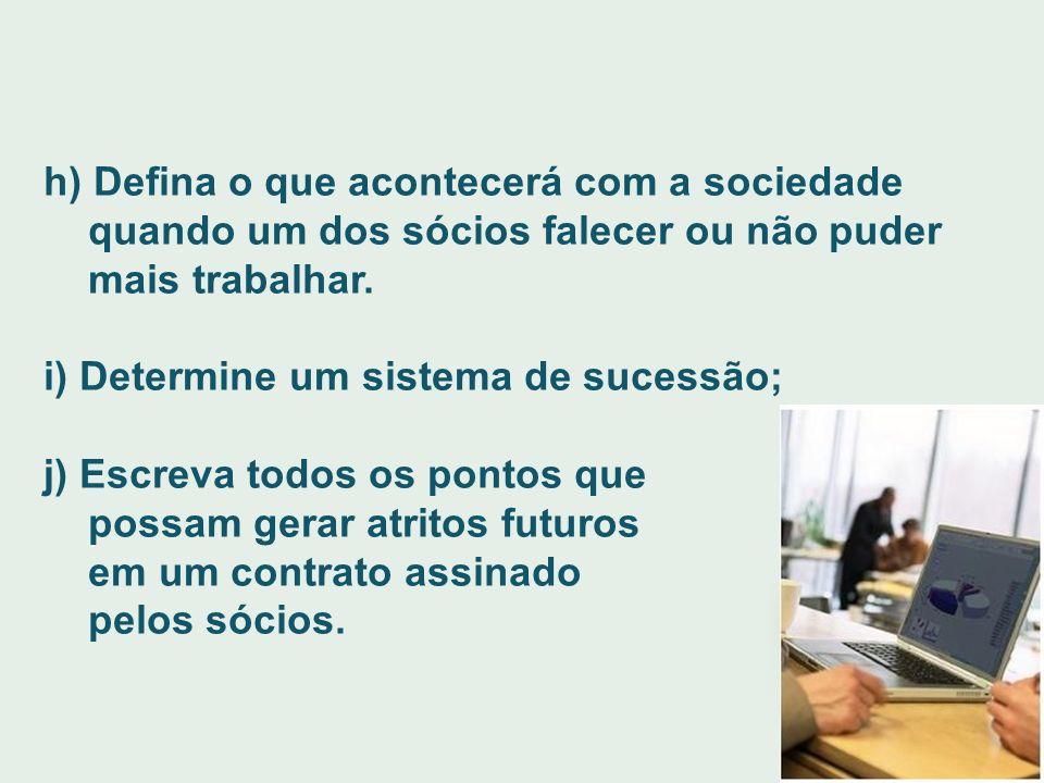 h) Defina o que acontecerá com a sociedade quando um dos sócios falecer ou não puder mais trabalhar. i) Determine um sistema de sucessão; j) Escreva t