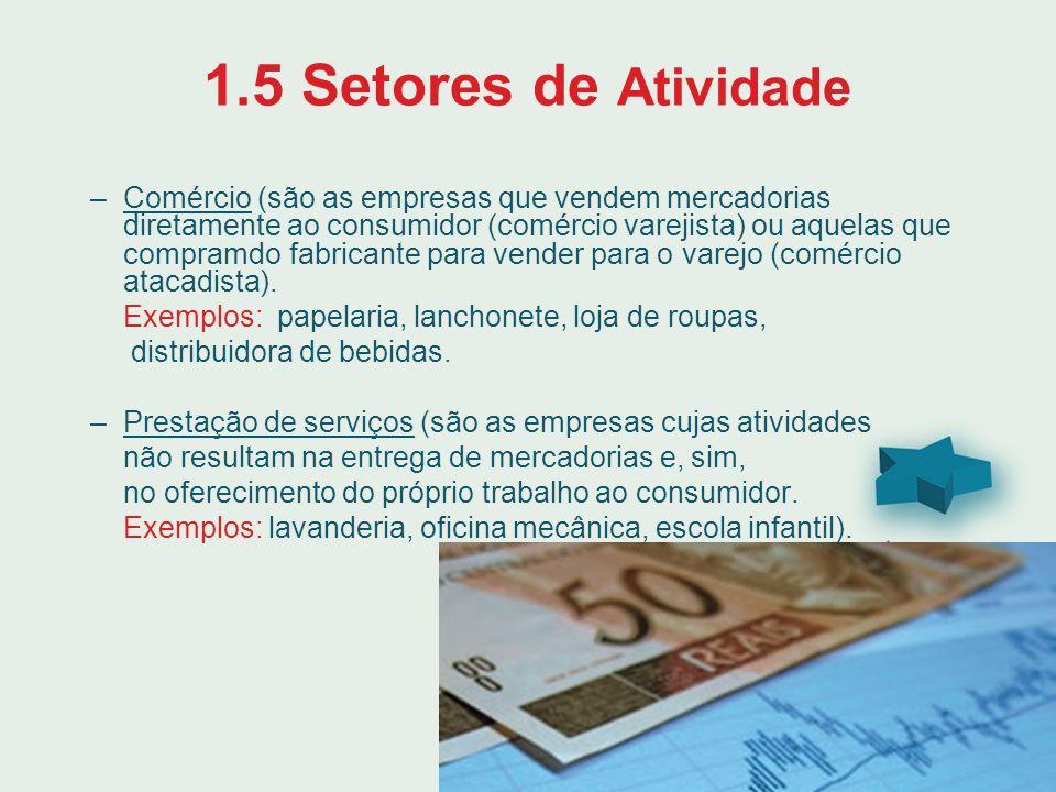 1.5 Setores de Atividade –Comércio (são as empresas que vendem mercadorias diretamente ao consumidor (comércio varejista) ou aquelas que compramdo fab