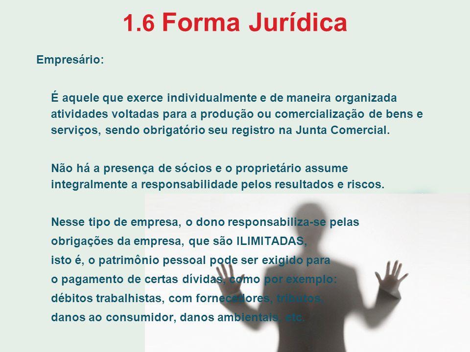 1.6 Forma Jurídica Empresário: É aquele que exerce individualmente e de maneira organizada atividades voltadas para a produção ou comercialização de b