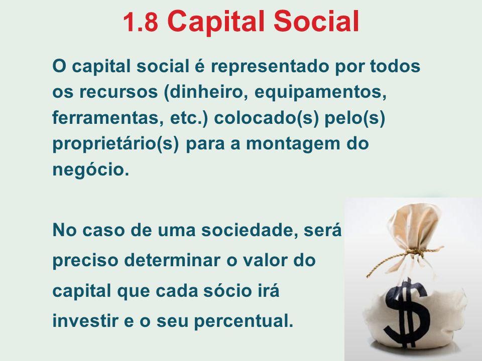 1.8 Capital Social O capital social é representado por todos os recursos (dinheiro, equipamentos, ferramentas, etc.) colocado(s) pelo(s) proprietário(