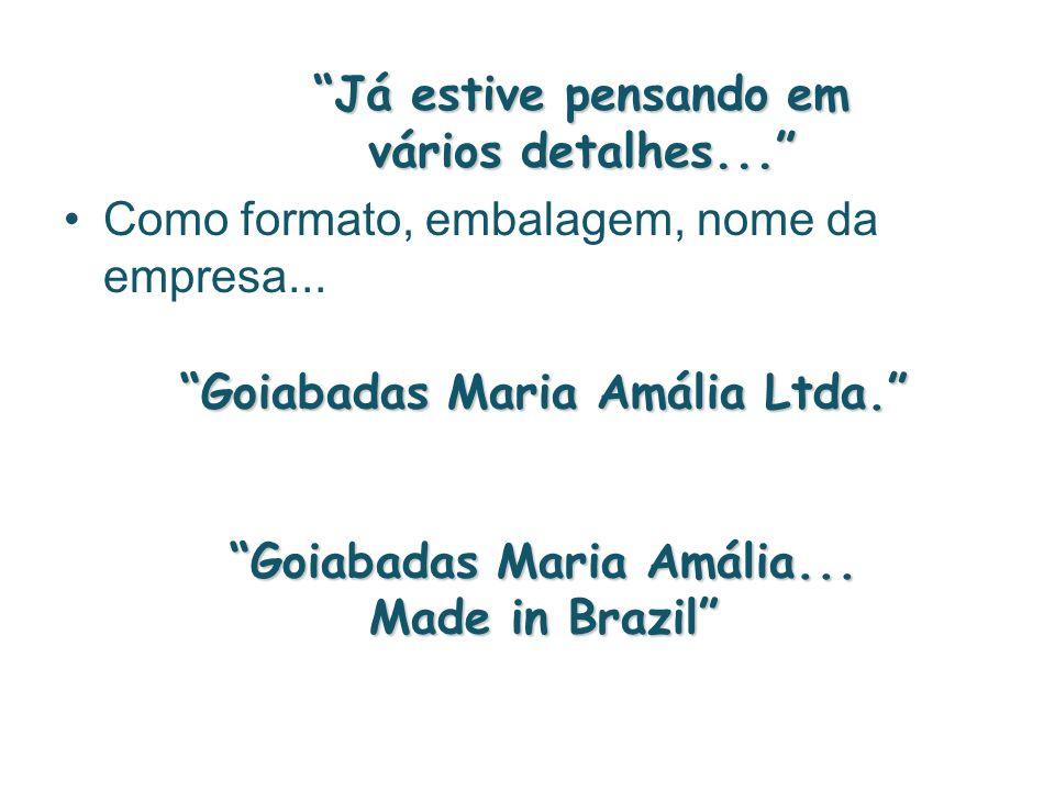 Já estive pensando em vários detalhes... Como formato, embalagem, nome da empresa... Goiabadas Maria Amália Ltda. Goiabadas Maria Amália... Made in Br