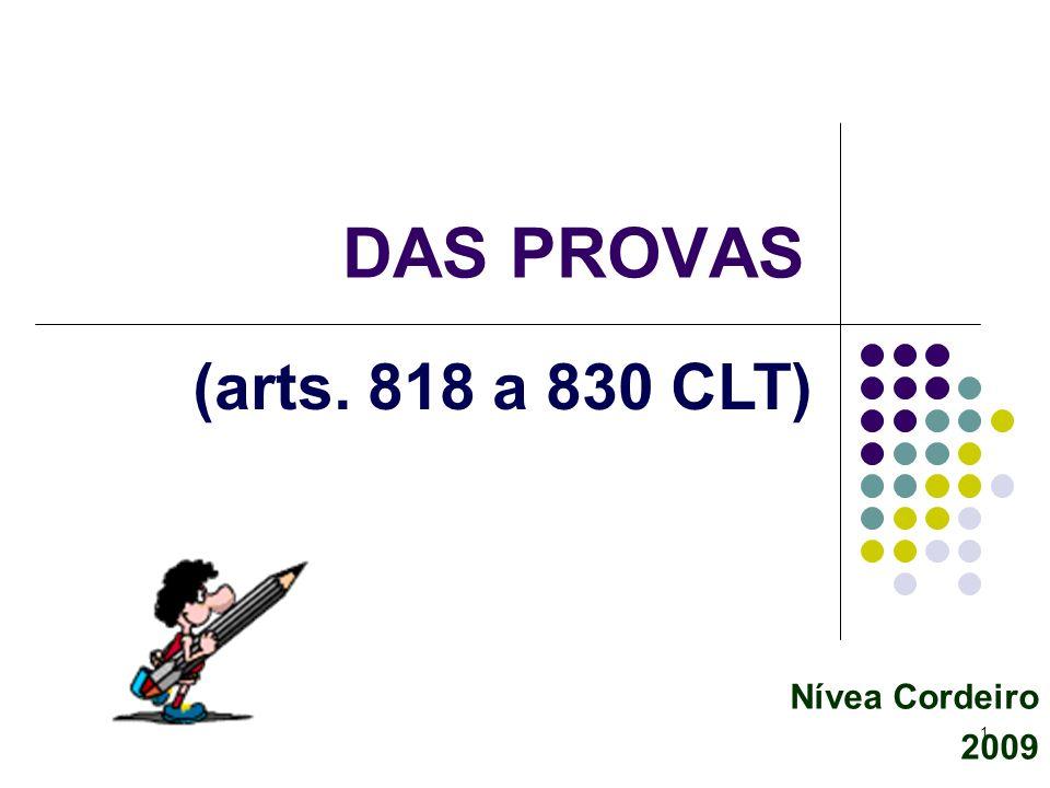 1 Nívea Cordeiro 2009 DAS PROVAS (arts. 818 a 830 CLT)