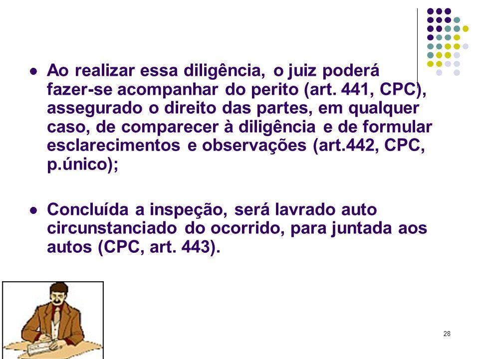 28 Ao realizar essa diligência, o juiz poderá fazer-se acompanhar do perito (art. 441, CPC), assegurado o direito das partes, em qualquer caso, de com