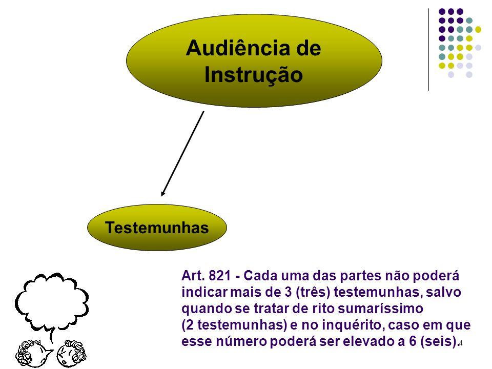 4 Audiência de Instrução Testemunhas Art. 821 - Cada uma das partes não poderá indicar mais de 3 (três) testemunhas, salvo quando se tratar de rito su