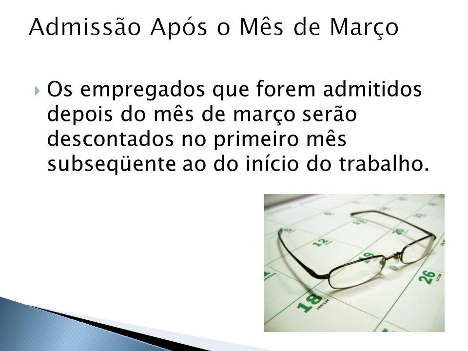 Como exemplo: empregado admitido no mês de abril, sem que tenha havido em outra empresa o desconto da Contribuição Sindical.