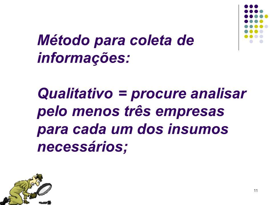 11 Método para coleta de informações: Qualitativo = procure analisar pelo menos três empresas para cada um dos insumos necessários;
