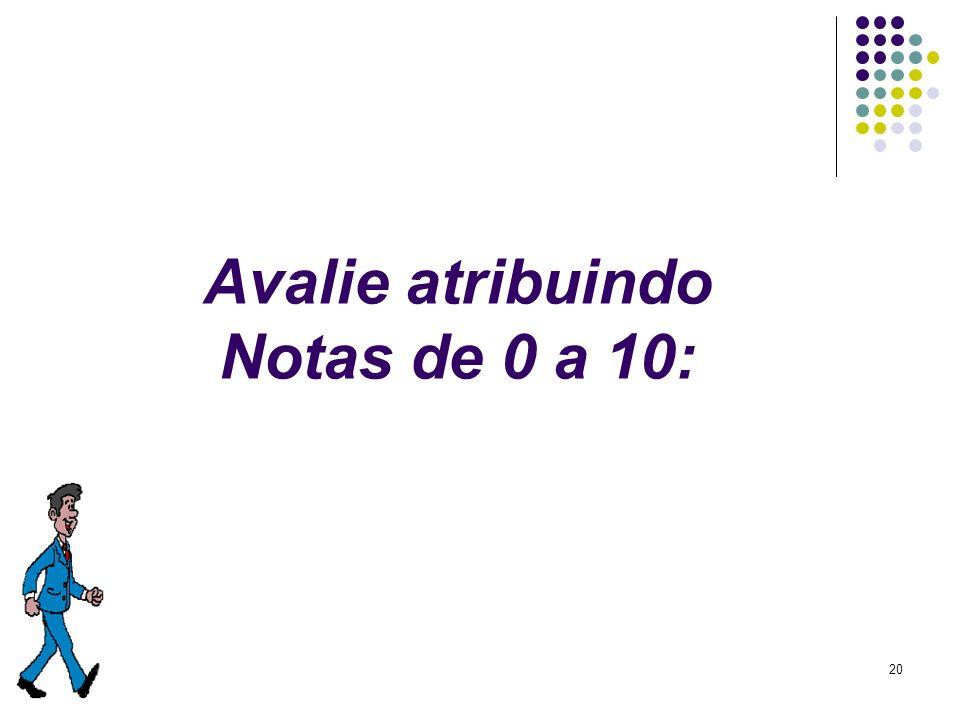 20 Avalie atribuindo Notas de 0 a 10:
