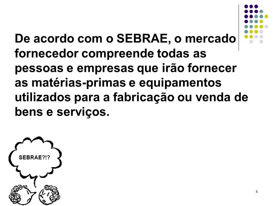4 De acordo com o SEBRAE, o mercado fornecedor compreende todas as pessoas e empresas que irão fornecer as matérias-primas e equipamentos utilizados p
