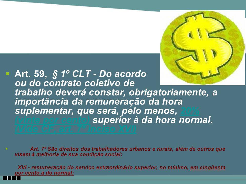 Art. 59, § 1º CLT - Do acordo ou do contrato coletivo de trabalho deverá constar, obrigatoriamente, a importância da remuneração da hora suplementar,