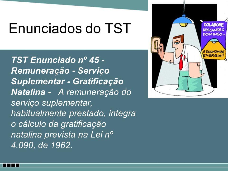 Enunciados do TST TST Enunciado nº 63 - Fundo de Garantia do Tempo de Serviço (FGTS) – Incidência - A contribuição para o Fundo de Garantia do Tempo de Serviço incide sobre a remuneração mensal devida ao empregado, inclusive horas extras e adicionais eventuais.