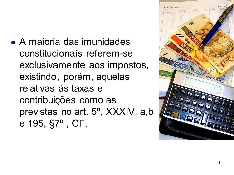 14 A maioria das imunidades constitucionais referem-se exclusivamente aos impostos, existindo, porém, aquelas relativas às taxas e contribuições como