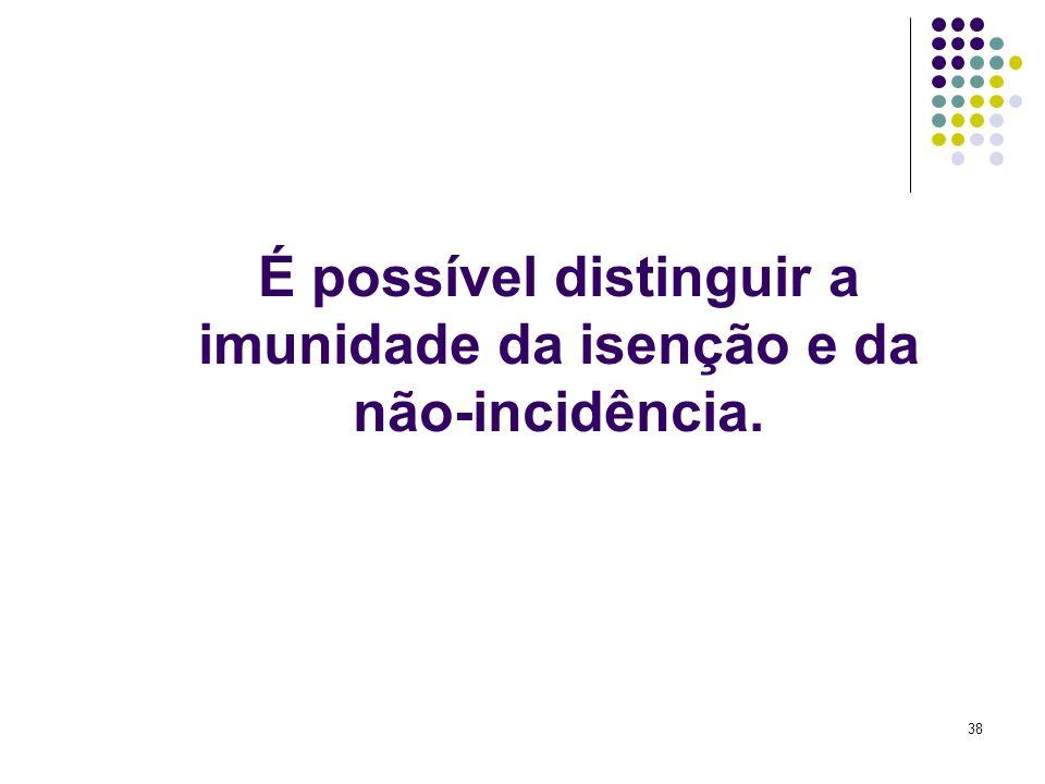 38 É possível distinguir a imunidade da isenção e da não-incidência.