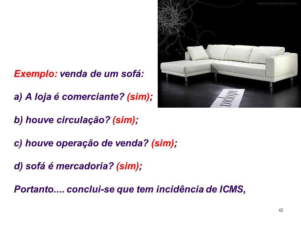 42 Exemplo: venda de um sofá: a) A loja é comerciante? (sim); b) houve circulação? (sim); c) houve operação de venda? (sim); d) sofá é mercadoria? (si
