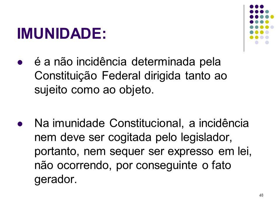 48 é a não incidência determinada pela Constituição Federal dirigida tanto ao sujeito como ao objeto. Na imunidade Constitucional, a incidência nem de