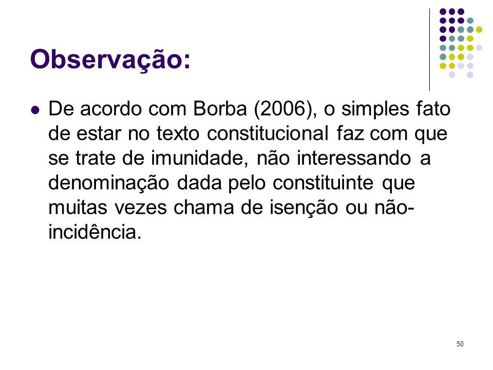 50 Observação: De acordo com Borba (2006), o simples fato de estar no texto constitucional faz com que se trate de imunidade, não interessando a denom
