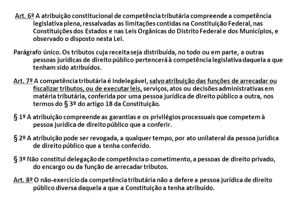 No CTN encontramos o tema competência tributária nos arts. 6º ao 8º. Se a CF/88 atribuiu a competência para instituir determinado tributo a determinad