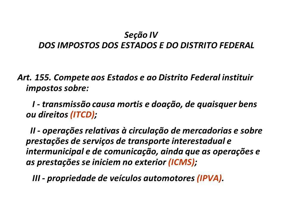 Seção III DOS IMPOSTOS DA UNIÃO Art. 153. Compete à União instituir impostos sobre: I - importação de produtos estrangeiros (II); II - exportação, par