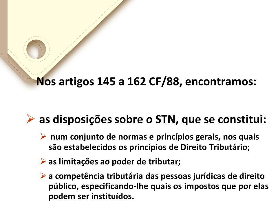 Nos artigos 145 a 162 CF/88, encontramos: as disposições sobre o STN, que se constitui: num conjunto de normas e princípios gerais, nos quais são estabelecidos os princípios de Direito Tributário; as limitações ao poder de tributar; a competência tributária das pessoas jurídicas de direito público, especificando-lhe quais os impostos que por elas podem ser instituídos.