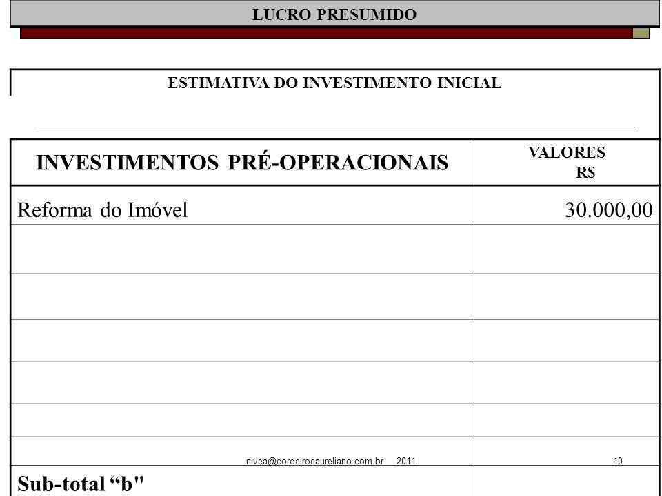 nivea@cordeiroeaureliano.com.br 201110 LUCRO PRESUMIDO ESTIMATIVA DO INVESTIMENTO INICIAL INVESTIMENTOS PRÉ-OPERACIONAIS VALORES R$ Reforma do Imóvel30.000,00 Sub-total b