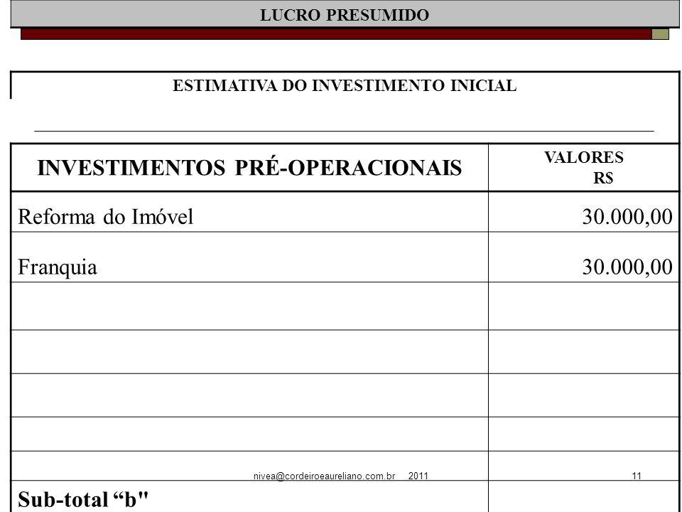 nivea@cordeiroeaureliano.com.br 201111 LUCRO PRESUMIDO ESTIMATIVA DO INVESTIMENTO INICIAL INVESTIMENTOS PRÉ-OPERACIONAIS VALORES R$ Reforma do Imóvel30.000,00 Franquia30.000,00 Sub-total b