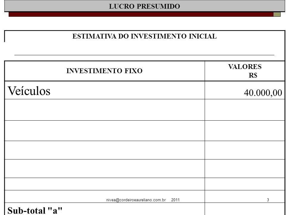 nivea@cordeiroeaureliano.com.br 20113 LUCRO PRESUMIDO ESTIMATIVA DO INVESTIMENTO INICIAL INVESTIMENTO FIXO VALORES R$ Veículos 40.000,00 Sub-total