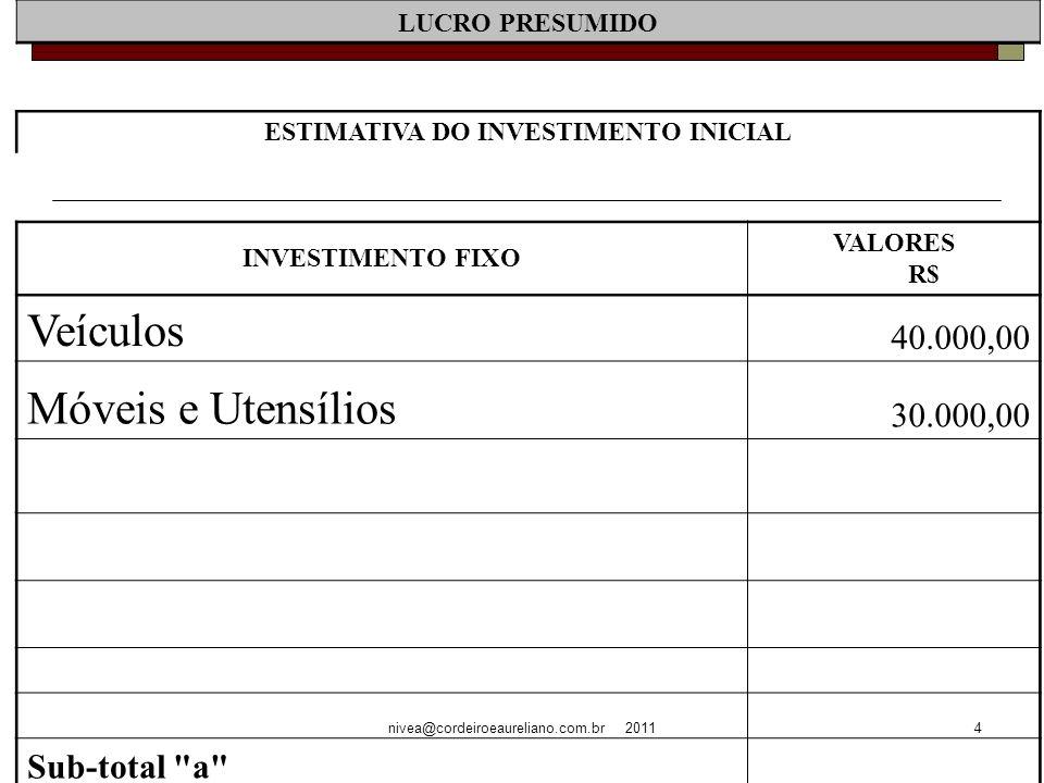 nivea@cordeiroeaureliano.com.br 20114 LUCRO PRESUMIDO ESTIMATIVA DO INVESTIMENTO INICIAL INVESTIMENTO FIXO VALORES R$ Veículos 40.000,00 Móveis e Utensílios 30.000,00 Sub-total a