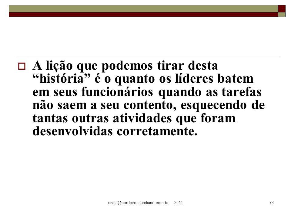 nivea@cordeiroeaureliano.com.br 201173 A lição que podemos tirar desta história é o quanto os líderes batem em seus funcionários quando as tarefas não