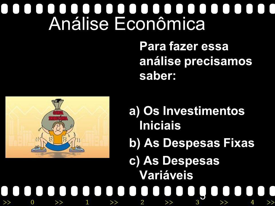 >>0 >>1 >> 2 >> 3 >> 4 >> 4 Análise Econômica Permite levantar o montante que será gasto no empreendimento e se este dará lucro ou prejuízo. A análise
