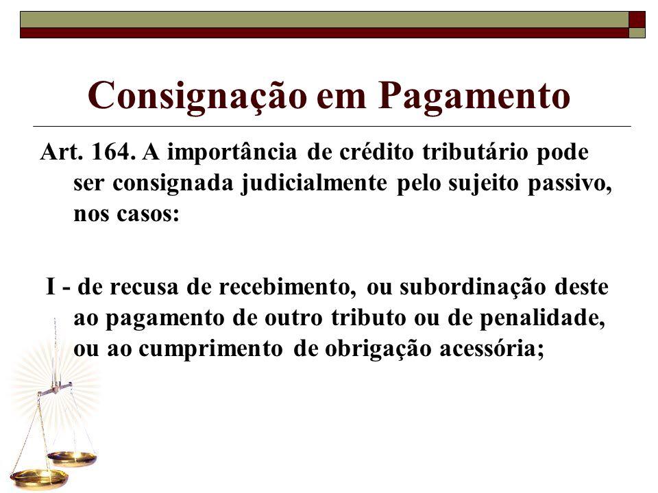 Consignação em Pagamento Art. 164. A importância de crédito tributário pode ser consignada judicialmente pelo sujeito passivo, nos casos: I - de recus