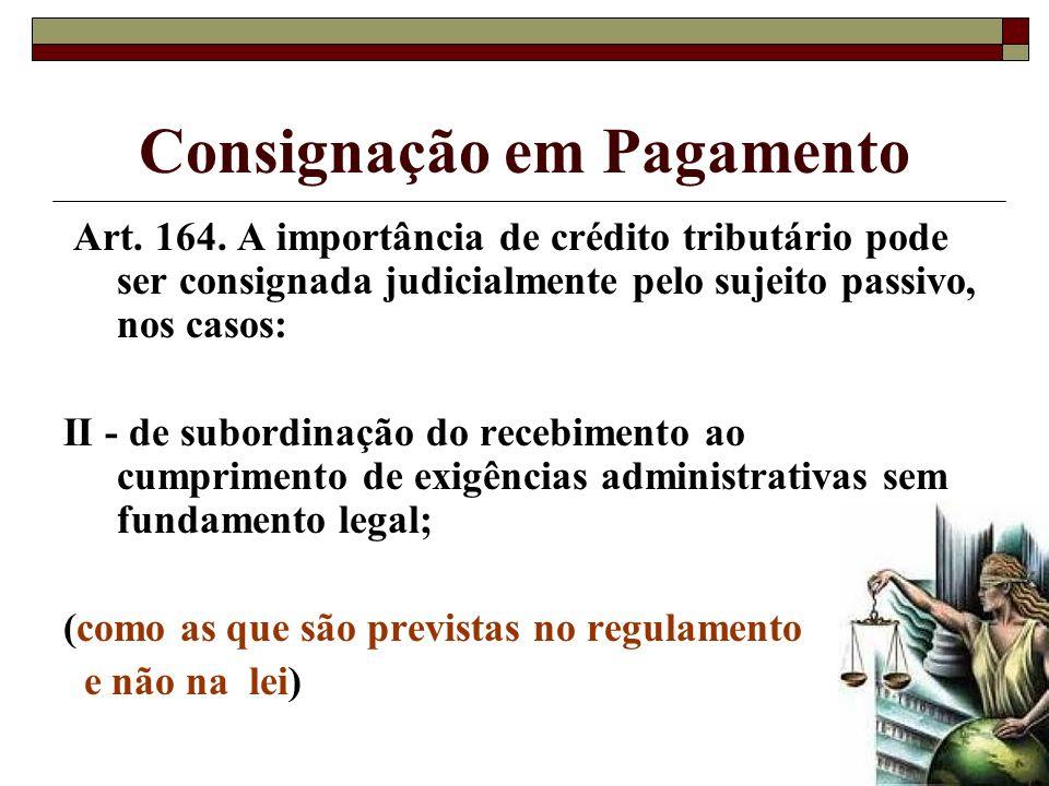 Consignação em Pagamento Art. 164. A importância de crédito tributário pode ser consignada judicialmente pelo sujeito passivo, nos casos: II - de subo