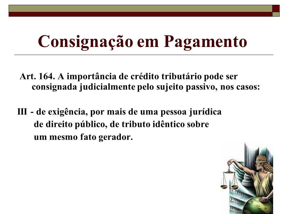 Consignação em Pagamento Art. 164. A importância de crédito tributário pode ser consignada judicialmente pelo sujeito passivo, nos casos: III - de exi